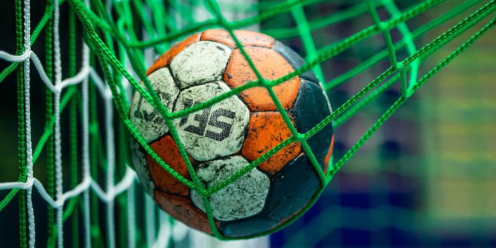 Handboll i grönt nät