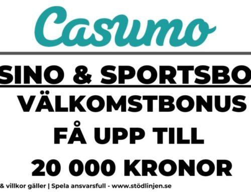 Välkomstbonus Casumo: Få upp till 20 000 kronor